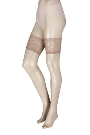 Ladies 1 Pair Trasparenze Voile 8 Denier Sheer Hold Ups with Lace Top