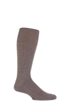 Mens 1 Pair Viyella Half Hose Wool Ribbed Socks With Hand Linked Toe Fawn