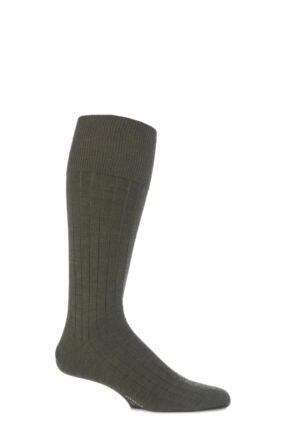 Mens 1 Pair Viyella Half Hose Wool Ribbed Socks With Hand Linked Toe Lovat