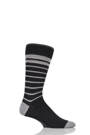 Mens 1 Pair Viyella Half Striped Wool Cotton Socks