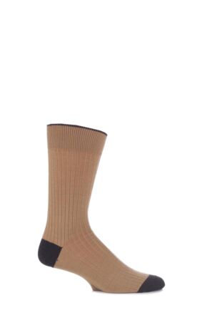 Mens 1 Pair Viyella Short Wool Contrast Heel and Toe Socks With Hand Linked Toe Desert Sand