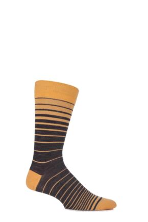 Mens 1 Pair Viyella Ombre Striped Wool Cotton Blend Socks English Mustard 6-11