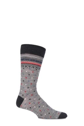 Mens 1 Pair Viyella Intarsia Design Wool Cotton Blend Socks