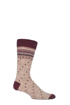 Mens 1 Pair Viyella Intarsia Design Wool Cotton Blend Socks Oatmeal 6-11