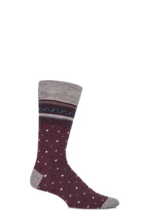 Mens 1 Pair Viyella Intarsia Design Wool Cotton Blend Socks Mulberry 6-11