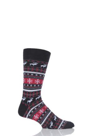 Mens 1 Pair Viyella Fair Isle Reindeer Cotton Socks
