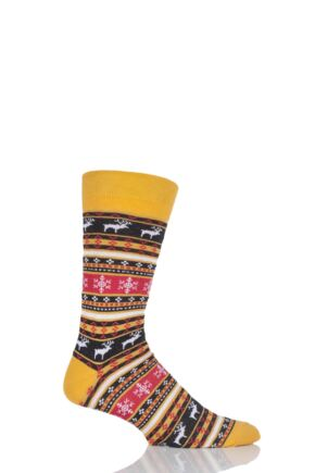 Mens 1 Pair Viyella Fair Isle Reindeer Cotton Socks Gold 6-11