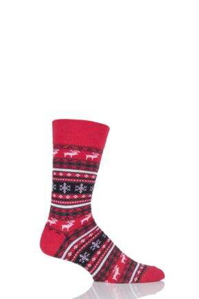 Mens 1 Pair Viyella Fair Isle Reindeer Cotton Socks Poppy 6-11