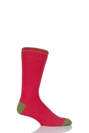 Mens 1 Pair Viyella Contrast Heel and Toe Cotton Socks In Red 25% OFF Red 6-11