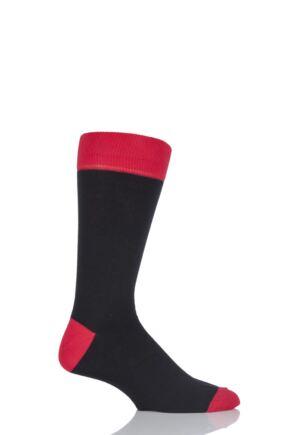 Mens 1 Pair Viyella Contrast Heel and Toe Cotton Socks In Black