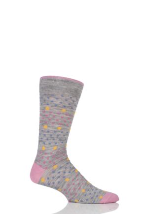 Mens 1 Pair Viyella Multi Spot and Dot Wool Cotton Socks