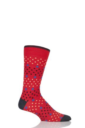 Mens 1 Pair Viyella Multi Spot and Dot Wool Cotton Socks Poppy 6-11 Mens