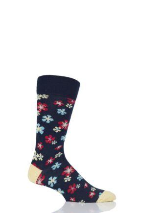 Mens 1 Pair Viyella Flower Patterned Cotton Socks