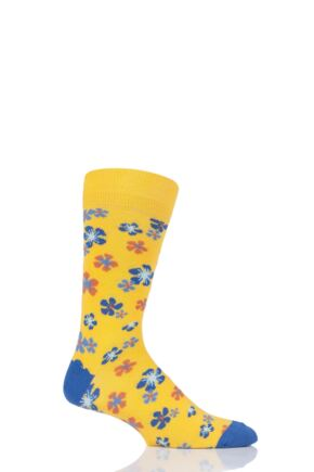 Mens 1 Pair Viyella Flower Patterned Cotton Socks Yellow 6-11