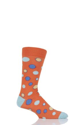 Mens 1 Pair Viyella Bubbles Patterned Cotton Socks Orange 6-11