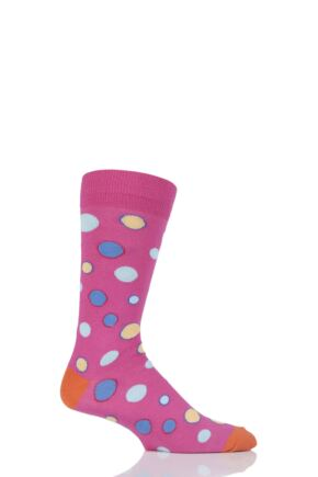 Mens 1 Pair Viyella Bubbles Patterned Cotton Socks Pink 6-11
