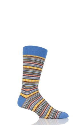 Mens 1 Pair Viyella Fairisle Patterned Cotton Socks Blue 6-11