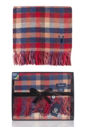 Mens 1 Pack Viyella Gift Boxed Wool Cashmere Blend Checked Scarf