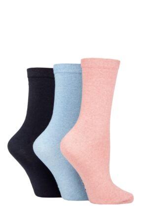 Ladies 3 Pair SOCKSHOP TORE 100% Recycled Plain Cotton Socks
