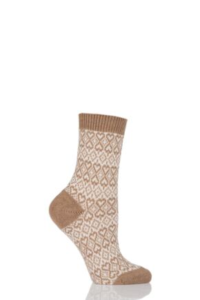 Ladies 1 Pair Pantherella 85% Cashmere Imogen Fair Isle Heart Socks