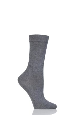 Ladies 1 Pair Pantherella Poppy Plain Cotton Lisle Socks Mid Grey Mix 4-7 Ladies