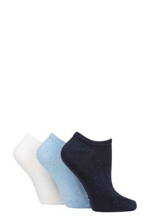 Ladies 3 Pair SOCKSHOP TORE 100% Recycled Plain Cotton Trainer Socks