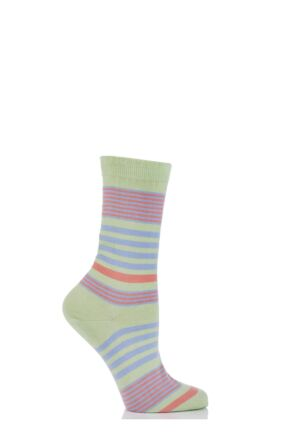 Ladies 1 Pair Pantherella Sea Island Cotton Honey 3 Colour Striped Socks with Frill Top 33% Off Apple