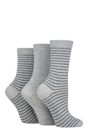 Ladies 3 Pair SOCKSHOP TORE 100% Recycled Fine Stripe Cotton Socks
