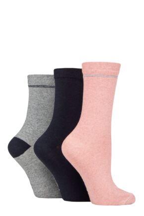 Ladies 3 Pair SOCKSHOP TORE 100% Recycled Placement Stripe Cotton Socks