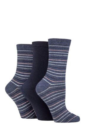 Ladies 3 Pair SOCKSHOP TORE 100% Recycled Multi Stripe Cotton Socks