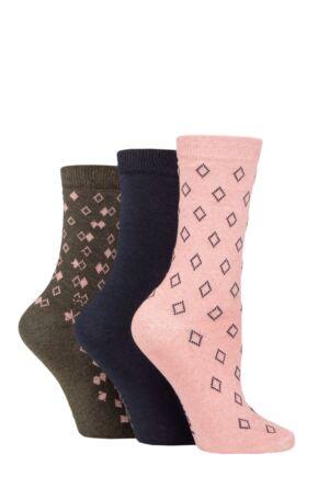 Ladies 3 Pair SOCKSHOP TORE 100% Recycled Diamonds Cotton Socks