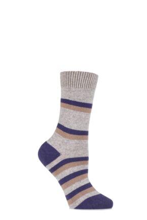 Ladies 1 Pair Pantherella Selma Multi Striped Cashmere Socks