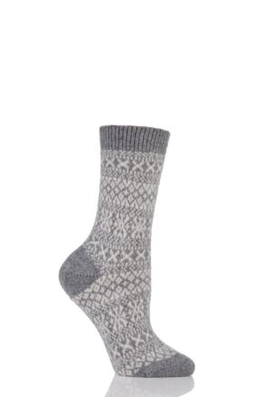 Ladies 1 Pair Pantherella Faith Winter Fairisle 85% Cashmere Socks Flannel 4-8