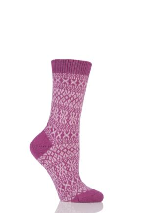 Ladies 1 Pair Pantherella Faith Winter Fairisle 85% Cashmere Socks Damson 4-8