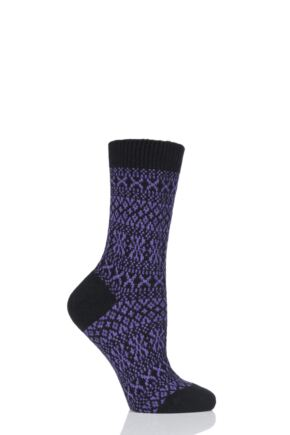 Ladies 1 Pair Pantherella Faith Winter Fairisle 85% Cashmere Socks