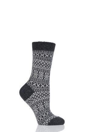 Ladies 1 Pair Pantherella Faith Winter Fairisle 85% Cashmere Socks Charcoal 4-7