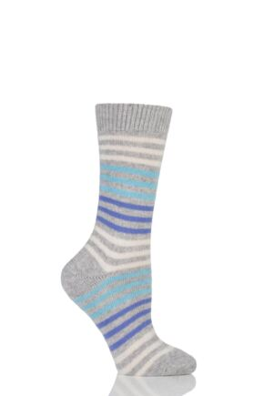 Ladies 1 Pair Pantherella Kyra Striped 85% Cashmere Socks