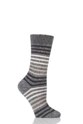 Ladies 1 Pair Pantherella Kyra Striped 85% Cashmere Socks Charcoal Chine 4-8 Ladies