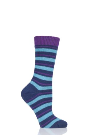 Ladies 1 Pair Pantherella Sally Striped 84% Cashmere Socks