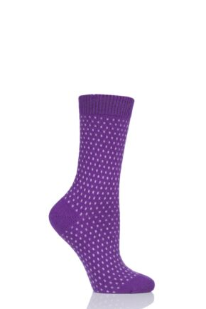 Ladies 1 Pair Pantherella Dotty 85% Cashmere Socks