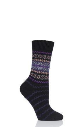 Ladies 1 Pair Pantherella Betty Snowflake Fairisle 85% Cashmere Socks