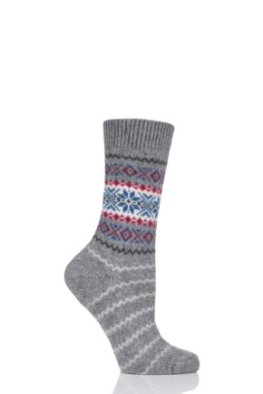Ladies 1 Pair Pantherella Betty Snowflake Fairisle 85% Cashmere Socks