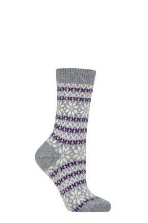 Ladies 1 Pair Pantherella Neve 85% Cashmere Fair Isle Socks