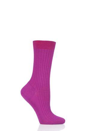 Ladies 1 Pair Pantherella Classic Merino Wool Ribbed Socks Magenta 4-7 Ladies