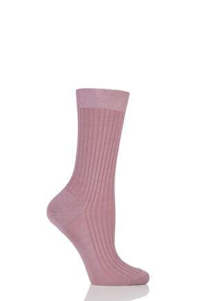 Ladies 1 Pair Pantherella Classic Merino Wool Ribbed Socks Old Rose 4-7 Ladies