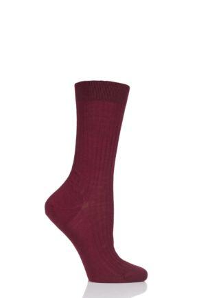 Ladies 1 Pair Pantherella Classic Merino Wool Ribbed Socks Wine 4-7 Ladies