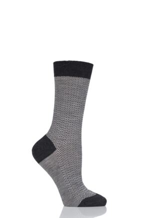 Ladies 1 Pair Pantherella Hatty Herringbone Merino Wool Socks Charcoal 4-7 Ladies