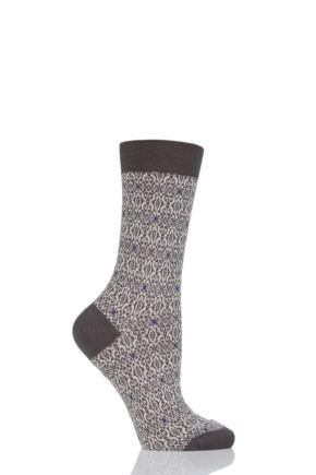 Ladies 1 Pair Pantherella Tessa Tapestry Jacquard Merino Wool Socks