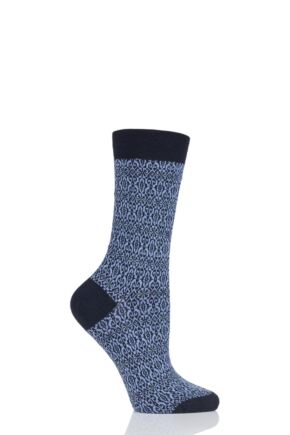 Ladies 1 Pair Pantherella Tessa Tapestry Jacquard Merino Wool Socks