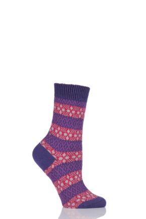 Ladies 1 Pair Pantherella Merino Wool Tara Fair Isle Socks Dark Purple 4-7